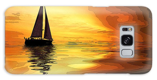 Sailboat At Sunset Galaxy Case by Charles Shoup