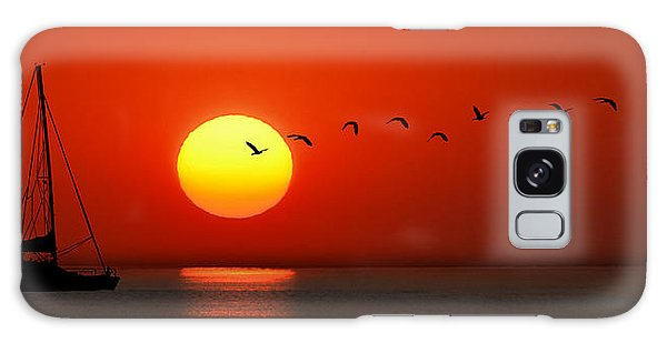 Sailboat At Sunset Galaxy Case by Joe Bonita