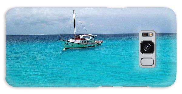 Sailboat Drifting In The Caribbean Azure Sea Galaxy Case by Amy McDaniel