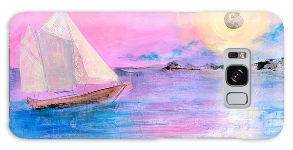 Sailboat In Pink Moonlight  Galaxy Case