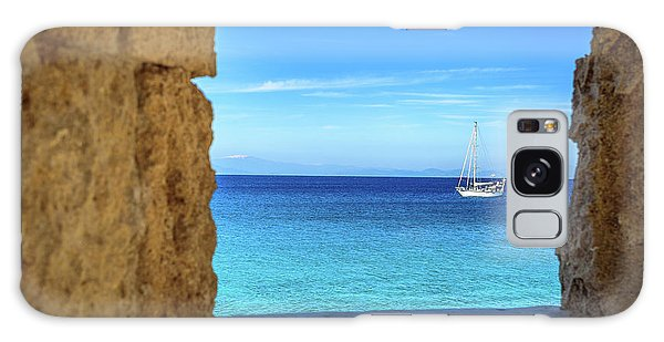 Sailboat Through The Old Stone Walls Of Rhodes, Greece Galaxy Case