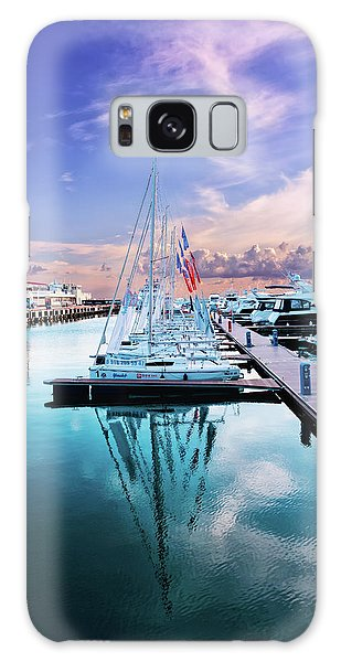 sailboats and yachts in the roads of the main sea channel of the Sochi seaport Galaxy Case