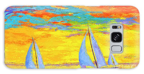 Sailboats At Sunset, Colorful Landscape, Impressionistic Art Galaxy Case
