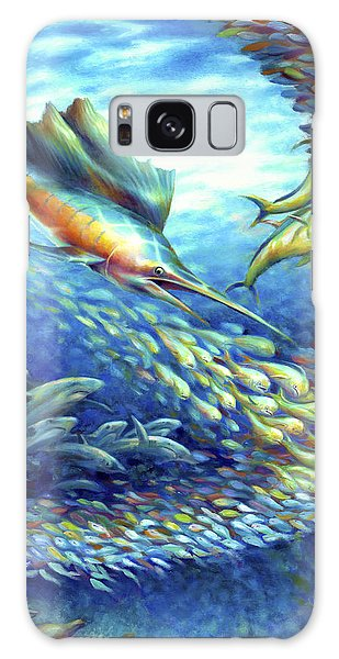 Sailfish Plunders Baitball II - Sharks And Dolphin Fish Galaxy Case by Nancy Tilles