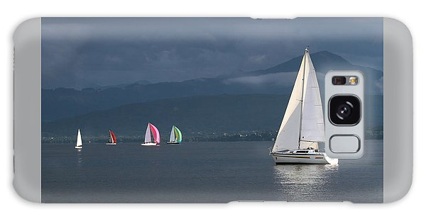 Sailing Boats By Stormy Weather, Geneva Lake, Switzerland Galaxy Case by Elenarts - Elena Duvernay photo