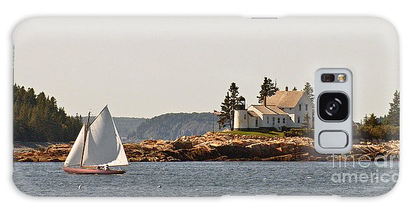 sailing by Mark Island lighthouse Galaxy Case