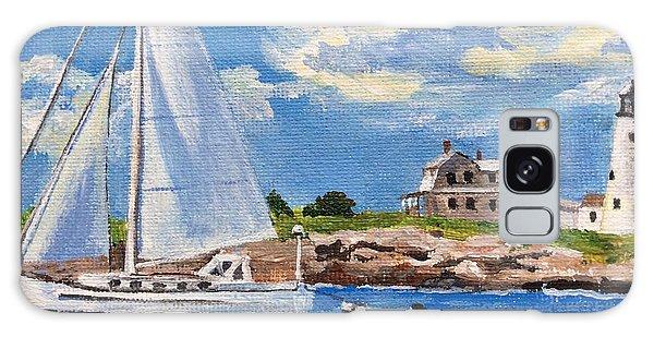 Sailing Past Wood Island Lighthouse Galaxy Case