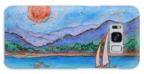 Galaxy Case featuring the painting Sailing Red Sun by Xueling Zou