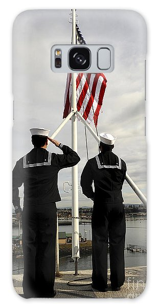 Galaxy Case featuring the photograph Sailors Raise The National Ensign by Stocktrek Images