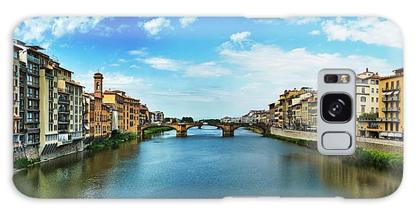 Panoramic View Of Saint Trinity Bridge From Ponte Vecchio In Florence, Italy Galaxy Case