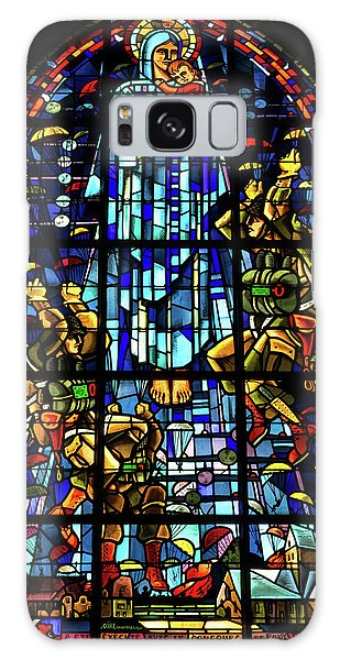 Sainte-mere-eglise Paratrooper Tribute Stained Glass Window Galaxy Case