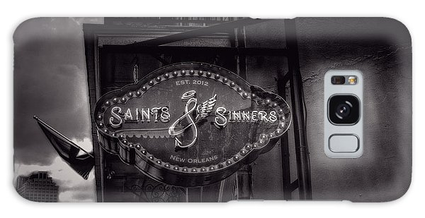 Saints And Sinners In Black And White Galaxy Case