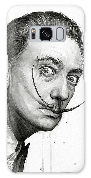 Famous Artist Galaxy Case - Salvador Dali Portrait Black And White Watercolor by Olga Shvartsur