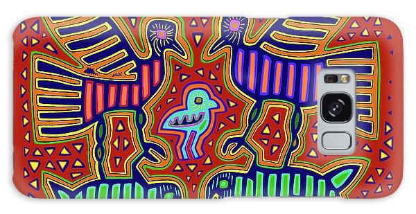 Galaxy Case featuring the digital art San Blas Kuna Bird Family With Fish by Vagabond Folk Art - Virginia Vivier
