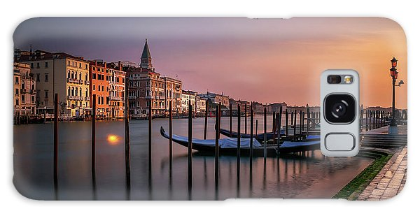 San Marco Campanile With Gondolas At Grand Canal During Calm Sunrise, Venice, Italy, Europe. Galaxy Case
