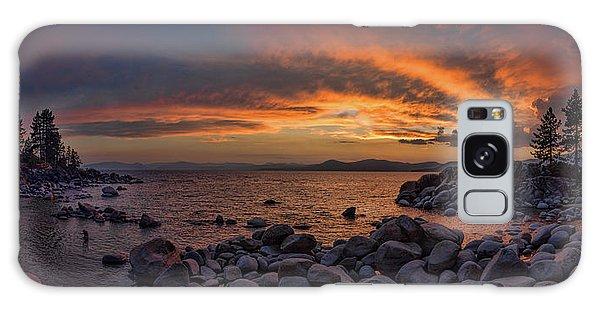 Sand Harbor Sunset Panorama Galaxy Case