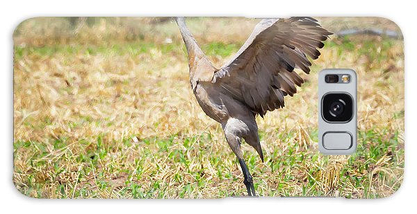 Galaxy Case featuring the photograph Sandhill Crane Morning Stretch by Ricky L Jones