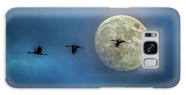 Sandhill Cranes With Full Moon Galaxy Case