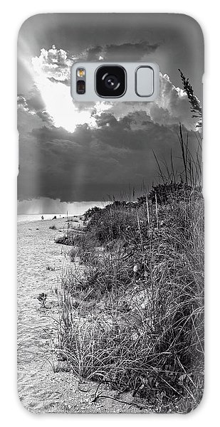 Sanibel Dune At Sunset In Black And White Galaxy Case