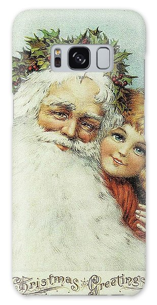 Santa And His Little Admirer Galaxy Case
