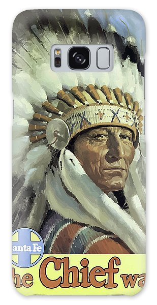 Indian Head Galaxy Case - Santa Fe, Indian Chief, Vintage Travel Poster by Long Shot