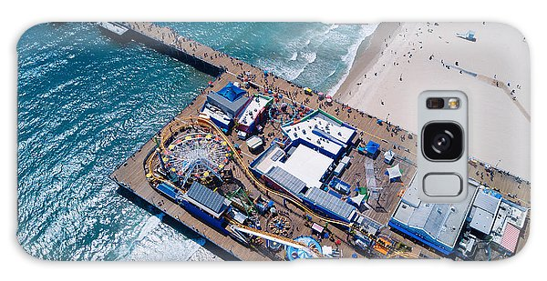 Santa Monica Pier From Above Side Galaxy Case by Andrew Mason