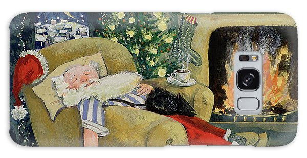 Clock Galaxy Case - Santa Sleeping By The Fire by David Cooke