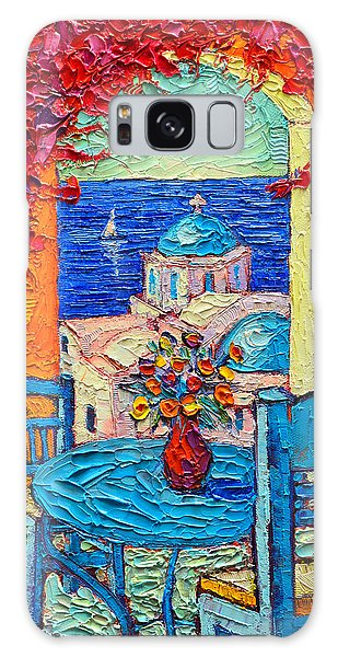 Santorini Dream Greece Contemporary Impressionist Palette Knife Oil Painting By Ana Maria Edulescu Galaxy Case