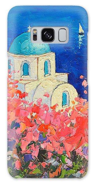 Santorini Impression - Full Bloom In Santorini Greece Galaxy Case