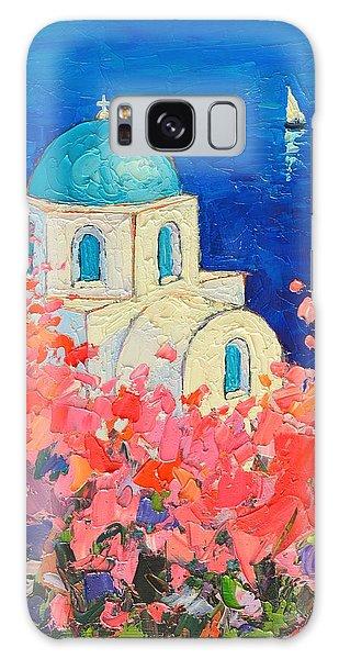 Islands In The Sky Galaxy Case - Santorini Impression - Full Bloom In Santorini Greece by Ana Maria Edulescu