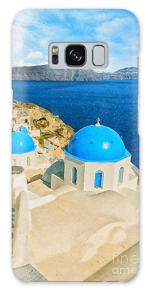 Santorini Oia Church Caldera View Digital Painting Galaxy Case