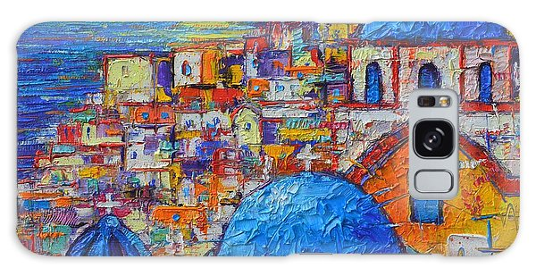 Islands In The Sky Galaxy Case - Santorini Sunset - Oia Blue Domes Abstract Cityscape  by Ana Maria Edulescu