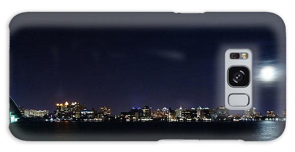Sarasota Cityscape-night-full Moon Galaxy Case