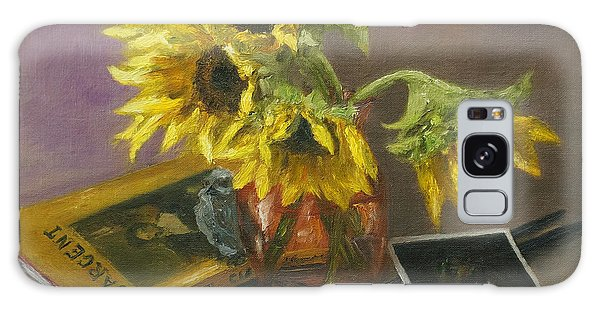 Sargent And Sunflowers Galaxy Case by Lisa  Spencer