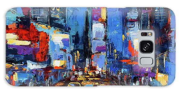New York City Taxi Galaxy Case - Saturday Night In Times Square by Elise Palmigiani