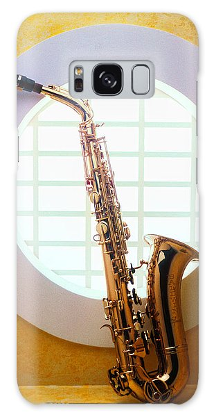 Saxophone Galaxy Case - Saxophone In Round Window by Garry Gay