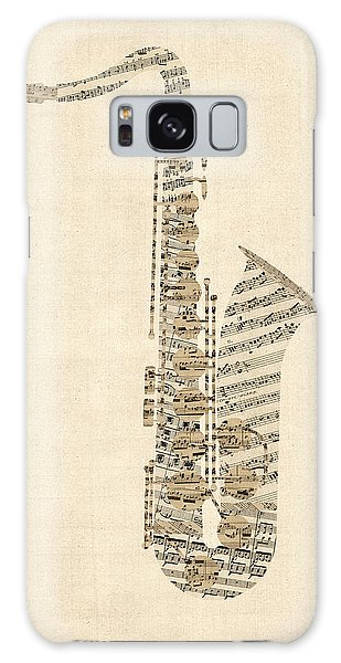 Saxophone Galaxy S8 Case - Saxophone Old Sheet Music by Michael Tompsett