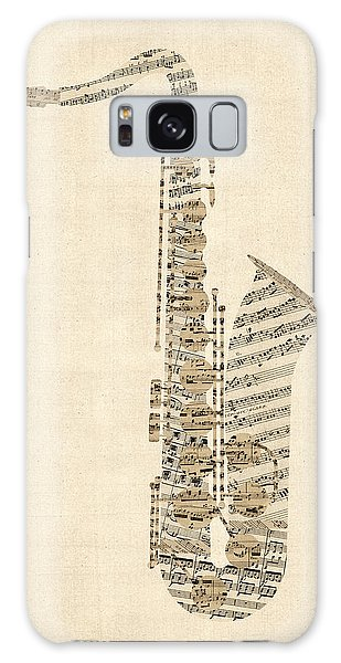 Saxophone Galaxy Case - Saxophone Old Sheet Music by Michael Tompsett