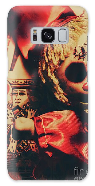 Nightmare Galaxy Case - Scary Doll Dressed As Joker On Playing Card by Jorgo Photography - Wall Art Gallery