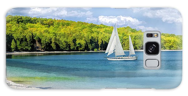 Galaxy Case featuring the painting Schoolhouse Beach Panorama On Washington Island Door County by Christopher Arndt
