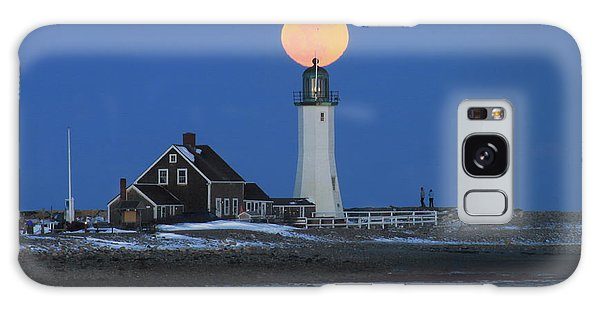 Scituate Lighthouse Snow Moon Galaxy Case by John Burk