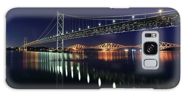 Scottish Steel In Silver And Gold Lights Across The Firth Of Forth At Night Galaxy Case
