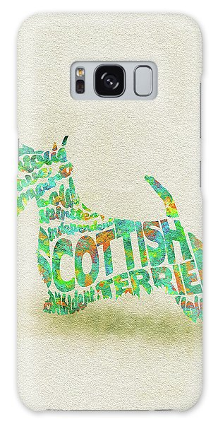 Galaxy Case featuring the painting Scottish Terrier Dog Watercolor Painting / Typographic Art by Inspirowl Design