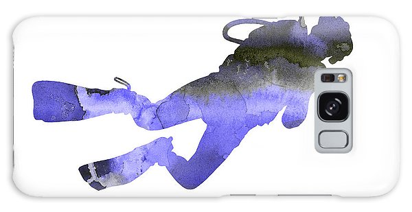 Scuba Diving Galaxy Case - Scuba Diver Watercolor Silhouette by Joanna Szmerdt