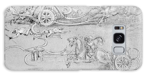 Pen And Ink Drawing Galaxy Case - Scythed Chariot by Leonardo Da Vinci