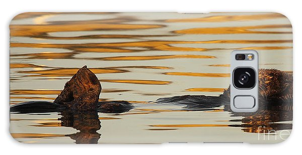 Sea Otter Laying Low In The Water Galaxy Case by Max Allen
