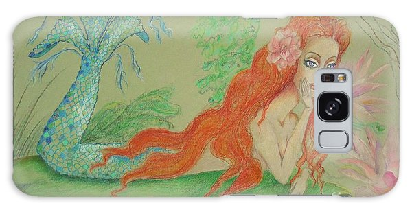Sea Siren, Resting -- Whimsical Mermaid Drawing Galaxy Case