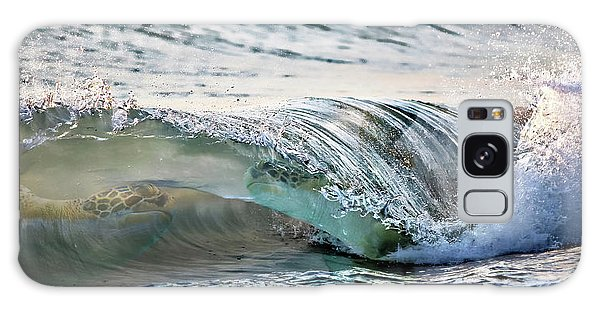 Sea Turtles In The Waves Galaxy Case by Barbara Chichester