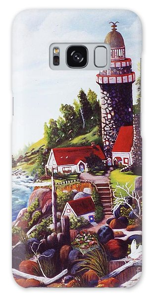 Seagull Cove And Lighthouse Galaxy Case by Myrna Walsh