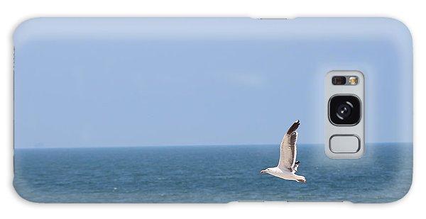 Seagull Flying Over Huntington Beach Galaxy Case
